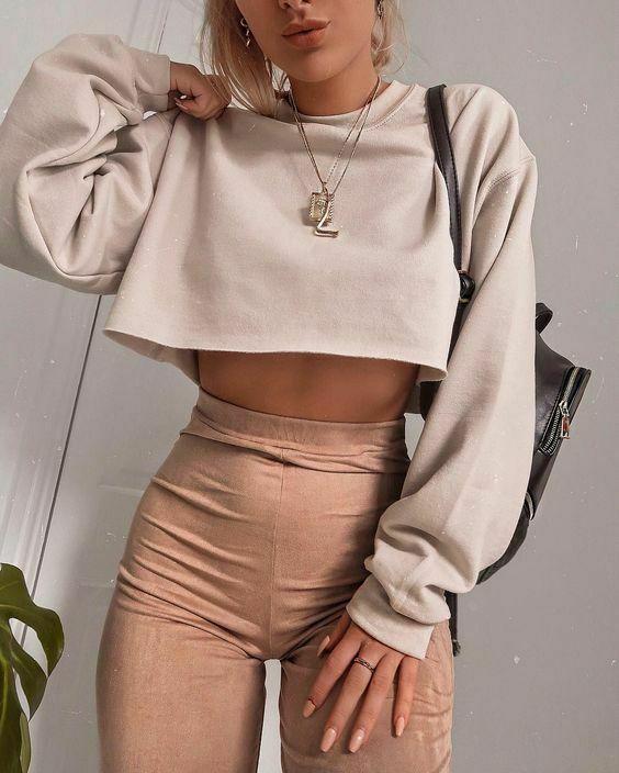 Autumn Women's Long Sleeve Top Round Neck Cotton Solid Color Pullover Ladies Crop Top Sweatshirt Tee Tops Outdoor Short T-Shirt 1