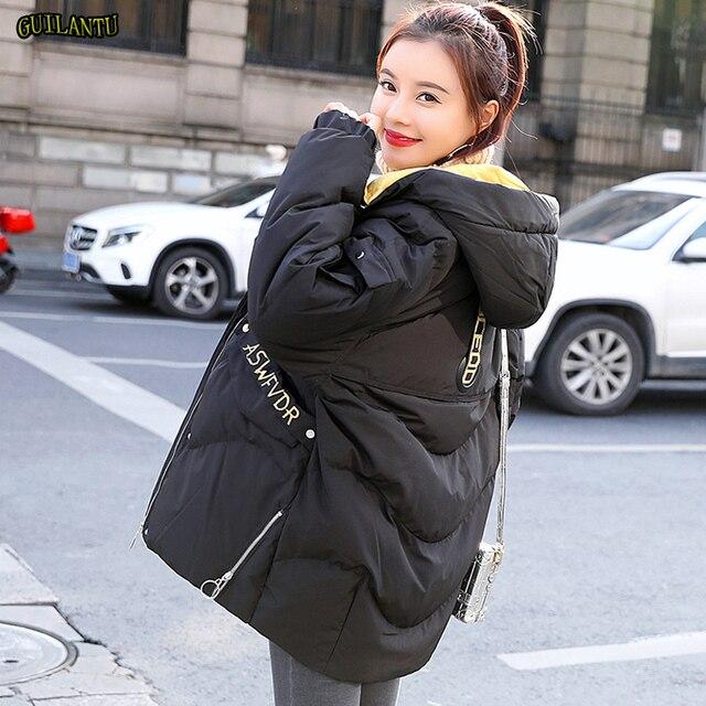 Guilantu kış ceket kadın artı boyutu 3xl ince kadın ceket kalın pamuklu yastıklı uzun Parkas Mujer kış kapşonlu parka kadın