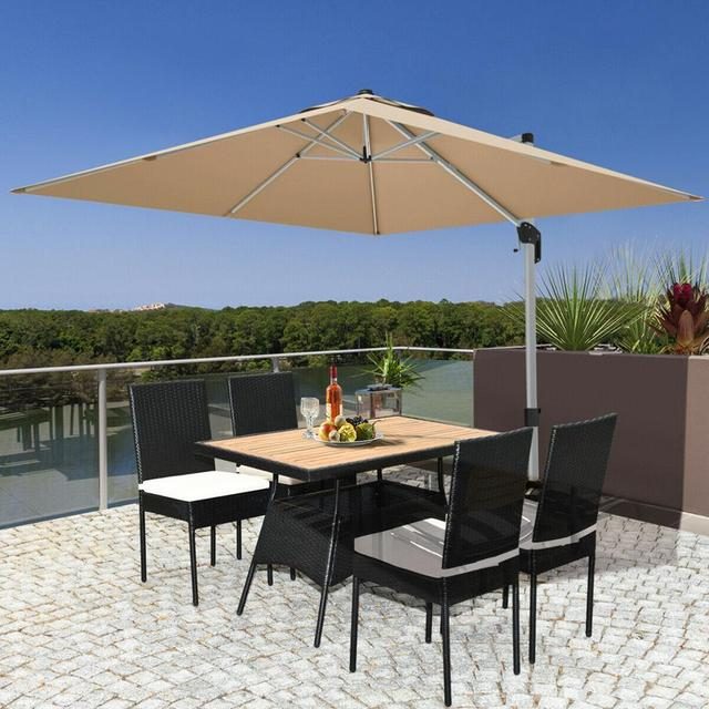 5 PCS Patio Dining Table w/Wood Top Cushioned Chairs  3
