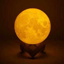 цена New Rechargeable 3D Print Moon Lamp LED Night Light 2 Color Change Touch Switch Bedroom Moon Light For Creative Gift Home онлайн в 2017 году
