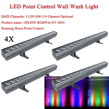 4Pcs/Lot LED Wash Wall 18x18W RGBWA+UV 6IN1 Stage Lighting With Running Horse Point Control DMX512 Good Effect Disco DJ Equipmen