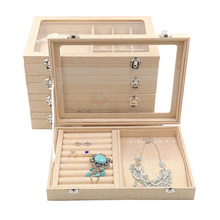 28*20*5cm Yellow Linen Jewelry Display Case Storage Organizer Tray Jewelry Box With Glass Lid For Necklace Ring Earring Bracelet top grade 12 grid linen glass lid bracelet loose bead box jewelry boxes display box bracelet display box jewelry display shelf