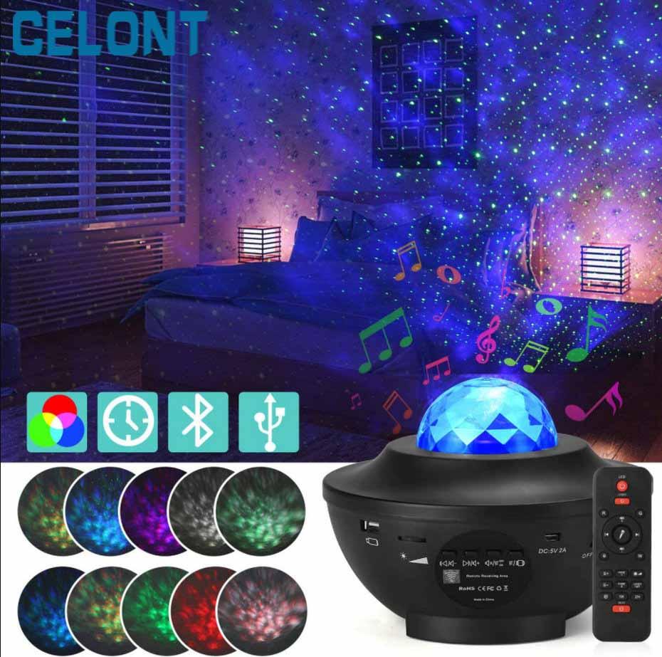 Светодиодный проектор океанских волн, Ночной светильник, Галактический проектор звездного неба, ночная лампа с музыкой, Bluetooth-динамиком для...