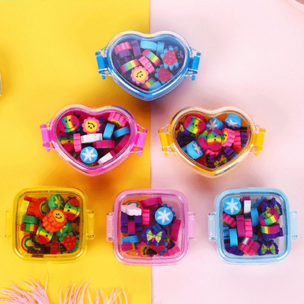 Lovely Square Box Heart Shaped Rainbow Rubber Creative Cartoon Eraser Student Stationery Children Stationery Cute Random Color