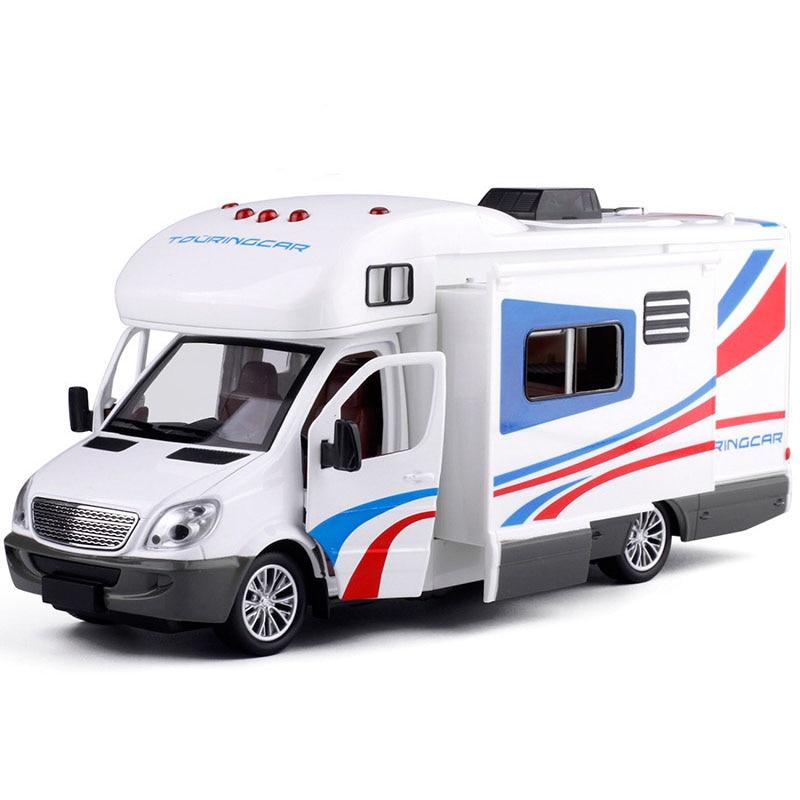 Travel Luxury Saloon Car Model Journey Car Long Vacation 1:32 Metal Car Toy Trailer Caravan Metal Diecast Kid's Toys