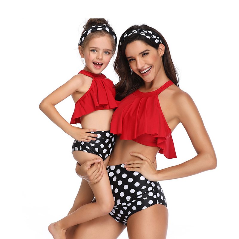 2020 New Summer Mother Daughter Swimwear High Waist Mommy And Me Bikini Bathing Swimsuit Family Matching Mom Daughter Clothes