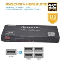 Navceker CEC HDMI Splitter 1x2 Splitter HDMI 1x4 HDMI Splitter 4K 60Hz HDR HDMI Video Splitter Switcher HDCP 2.2 For PS4 Monitor