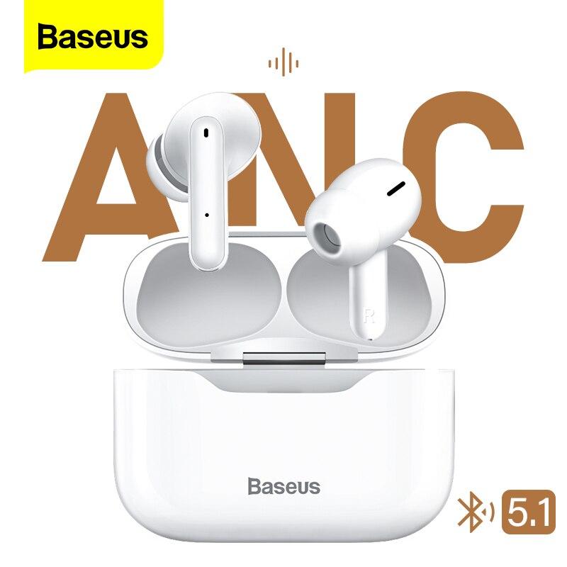 Baseus S1 ANC aktywna redukcja szumów Bluetooth 5.1 słuchawki TWS prawdziwe bezprzewodowe douszne Hi-Fi Audio słuchawki gamingowe sterowanie dotykowe