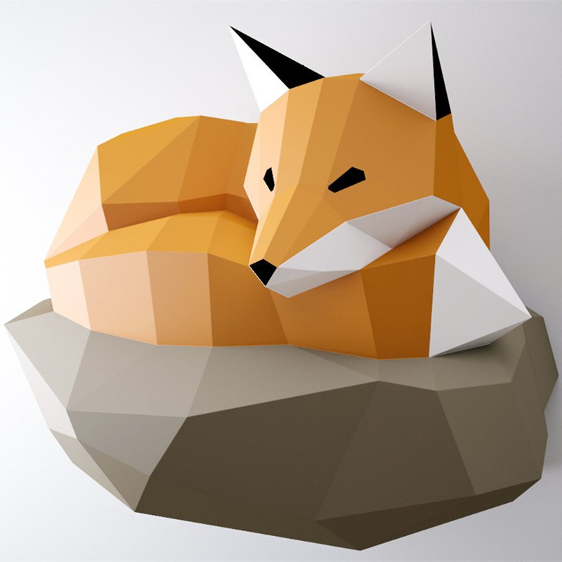3D Paper Model Rock Fox Papercraft Home Decor Wall Decoration Puzzles Educational DIY Kids Toys Birthday Gift 884