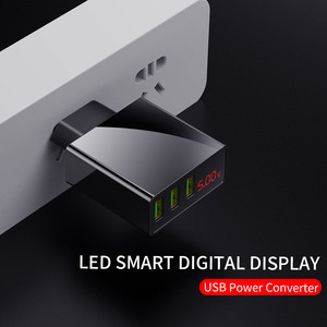 Image 2 - 3 Port USB Phone Charger LED Display EU Plug Total Max 3A Smart Fast Charger Mobile Wall Charger for iPhone 12 Pro iPad Samsung
