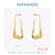 ENFASHION Metal Petal Drop Earrings For Women Gold Color Statement Long Leaf Dangle Earings Fashion Jewelry Oorbellen 2020 E1050