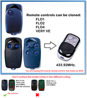 NICE FLO 1 FLO 2 FLO 3 Universal Remote Control Transmitter Garage Door Gate Fob 433.92mhz fixed code