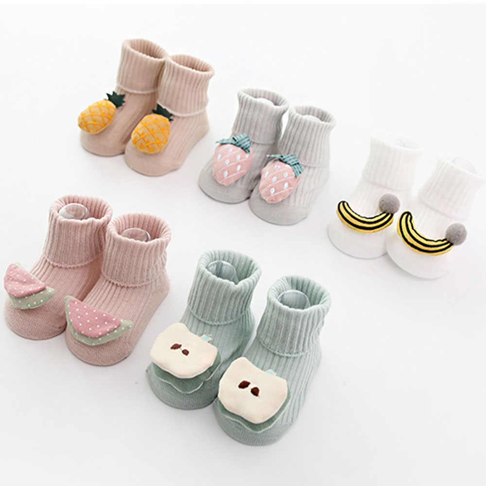 0-18 Months Cotton Children's Socks Baby Cartoon Fruit Rubber Anti Slip Floor Infant Socks Kids Toddlers Autumn Spring Stock