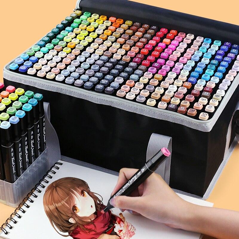 TOUCHCOOL-rotulador artístico para bocetos, rotulador para acuarela con base de Alcohol, 262 colores, pincel de arte para dibujar con doble punta