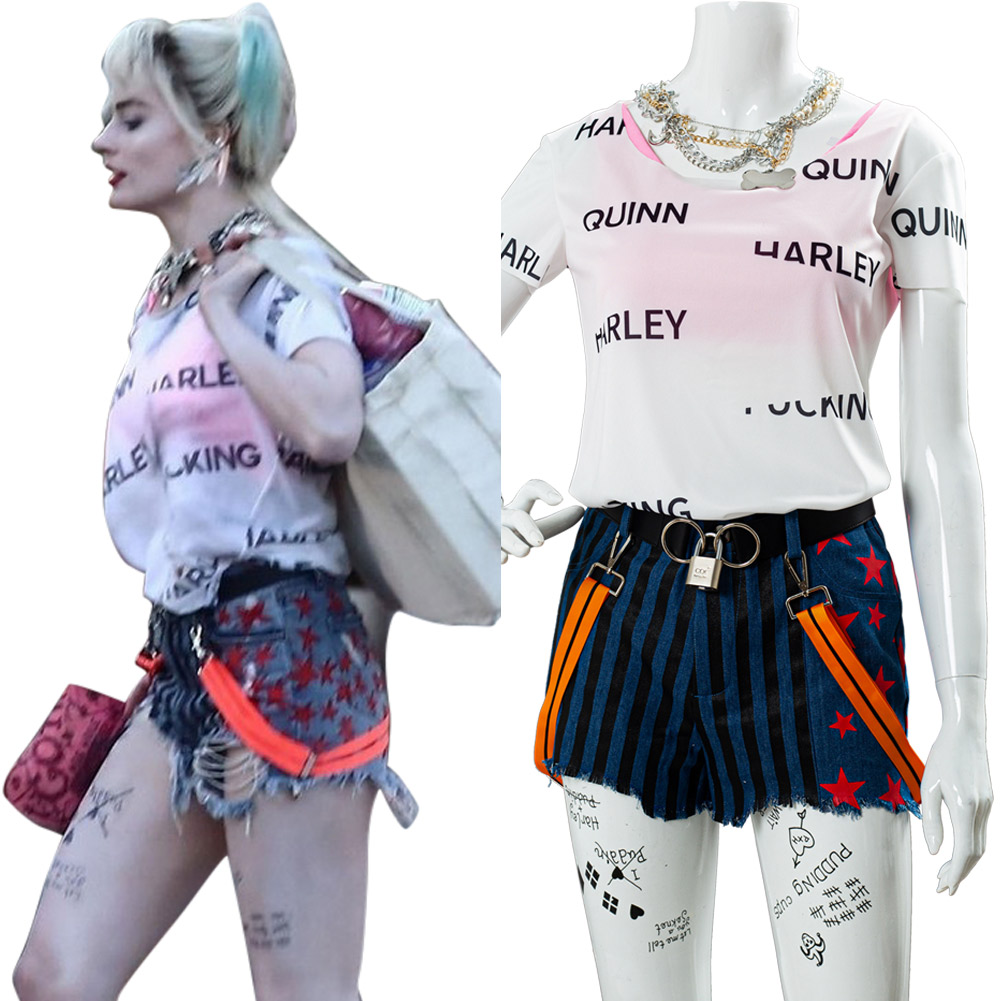 Birds of Prey Cosplay Harley Quinn Costume Female Girl Belt+Glove+Necklace+Shorts+T Shirt+Tattoo Paste+Vest Daily Streetwear