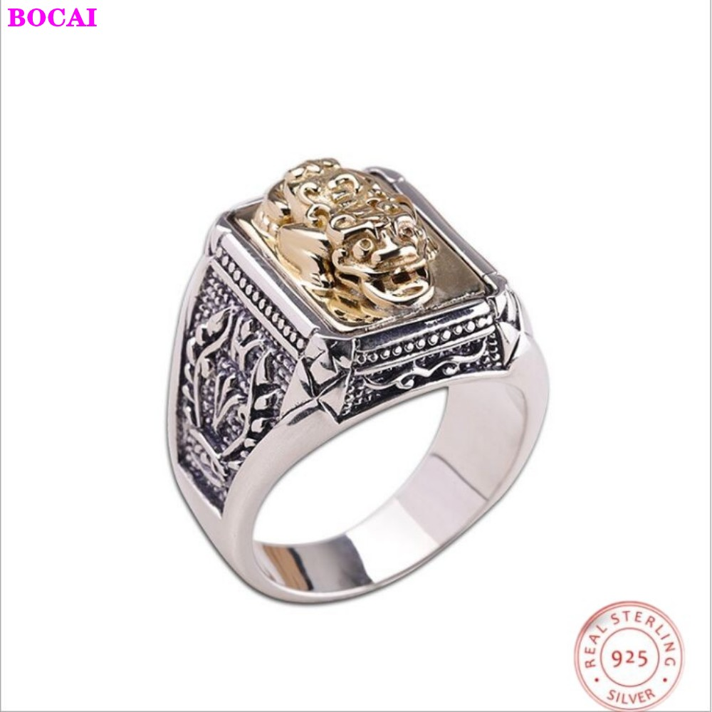 S925 sterling silver jewelry personality men's lucky ring  Chinese Swiss beast good luck ring|Rings| |  - title=