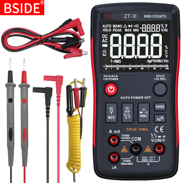BSIDE Digital Multimeter 9999 T RMS Auto Range EBTN LCD DC AC Voltmeter Ammeter Analog Lcr Meter capacitor Ohm Hz NCV Tester Q1