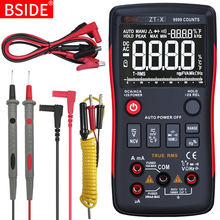 Bside multímetro digital, 9999 t rms auto range ebtn lcd dc voltímetro e amperímetro analógico lcr medidor capacitor ohm testador ncv de hz q1