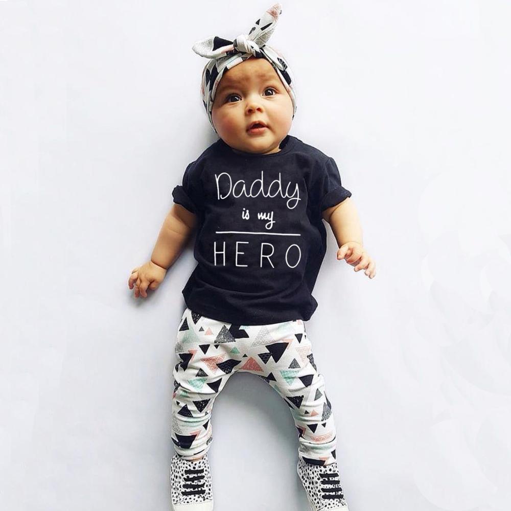 Летняя одежда для новорожденных, для маленьких девочек одежда Daddy is my Hero», футболка с короткими рукавами, топы + штаны + повязка на голову, оде...
