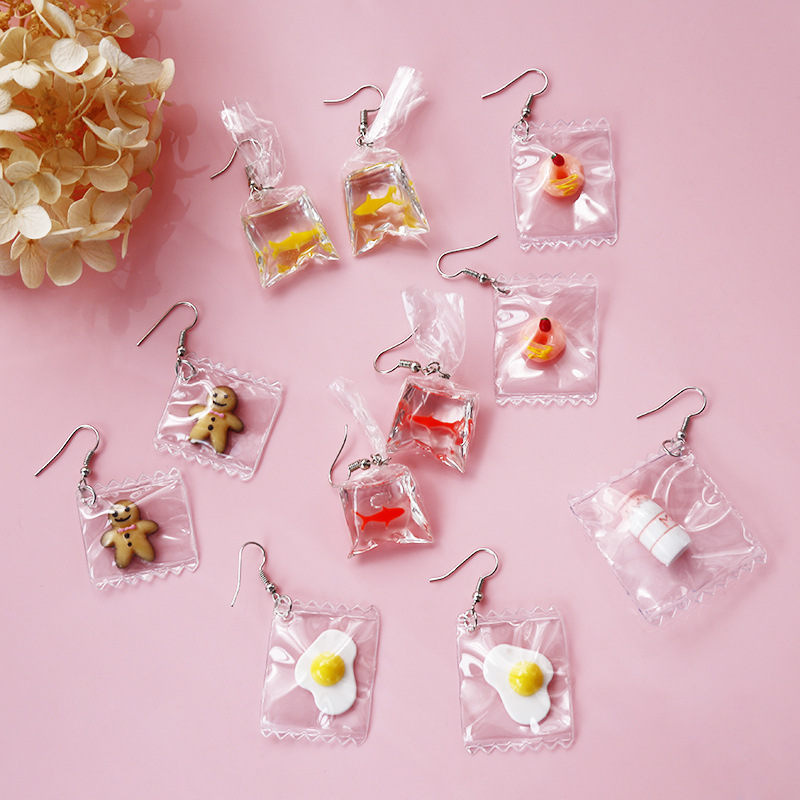 Funny Earrings For Women Japanese Transparent Water Bag Fun Goldfish D Earrings Cute Poached Egg Donut Fashion Jewelry Gifts