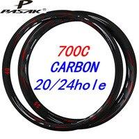 Pasak Road Bike 700c Carbon Rims Aro 631mm Clincher Tubeless Rim UD 3KM Twill V C Brake 20 24 Holes