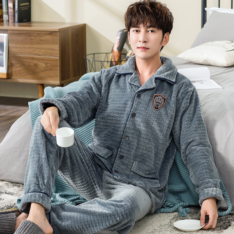 Winter Warm   Pajamas     Set   for Men 2 Pieces Lounge Male Sleepwear 2019 New Blanket Nightgown Home Clothes Winter Thicken   Pajama