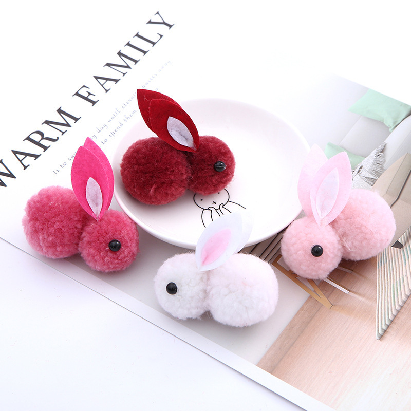 Помпон, 1 шт., 6 см, 3D помпоны с кроликом, меховые шарики для шитья на вязаном брелке, шапки, шарфы, мех, принадлежности для рукоделия, аксессуары для волос Принадлежности для рукоделия      АлиЭкспресс