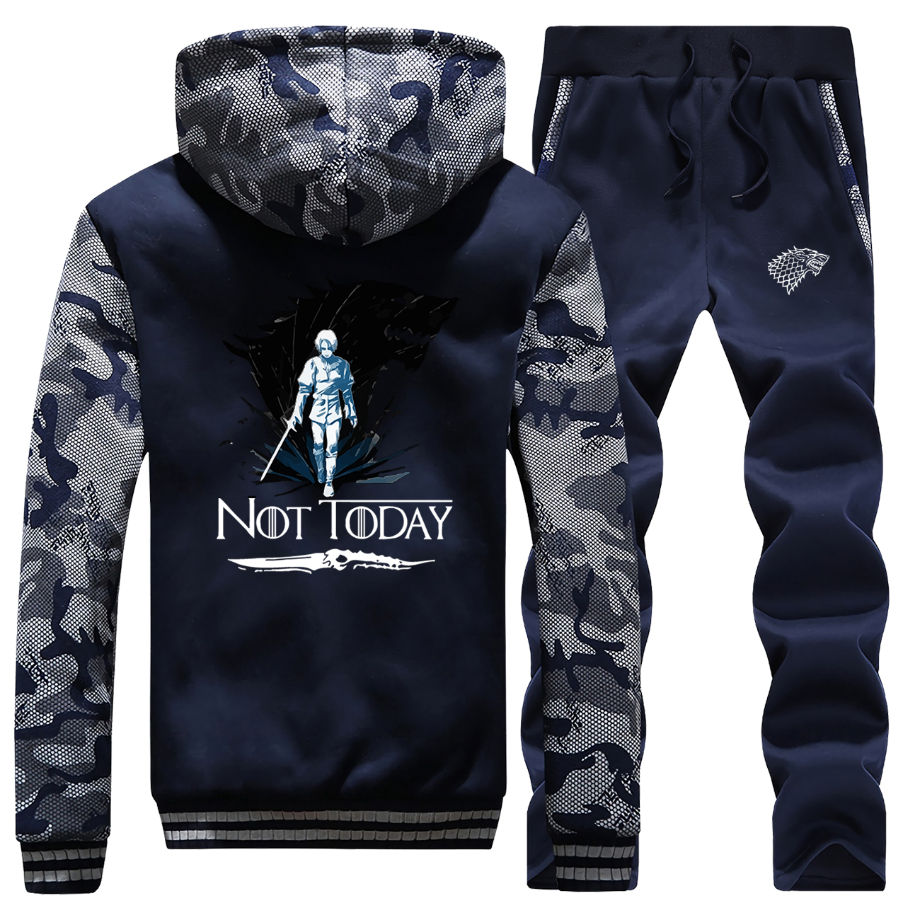 Game Of Thrones Hoodies Pants Set Men Ayra House Stark Wolf Tracksuit Track Suit Winter Thicken Fleece Jacket Camo 2 Piece Sets