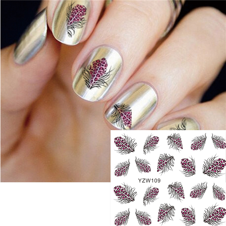 Yzw Water Transfer Phototherapy Nail Polish Glue Printed Nail Sticker Paper Sticker Feather Leopord Pattern Nail Sticker Flower