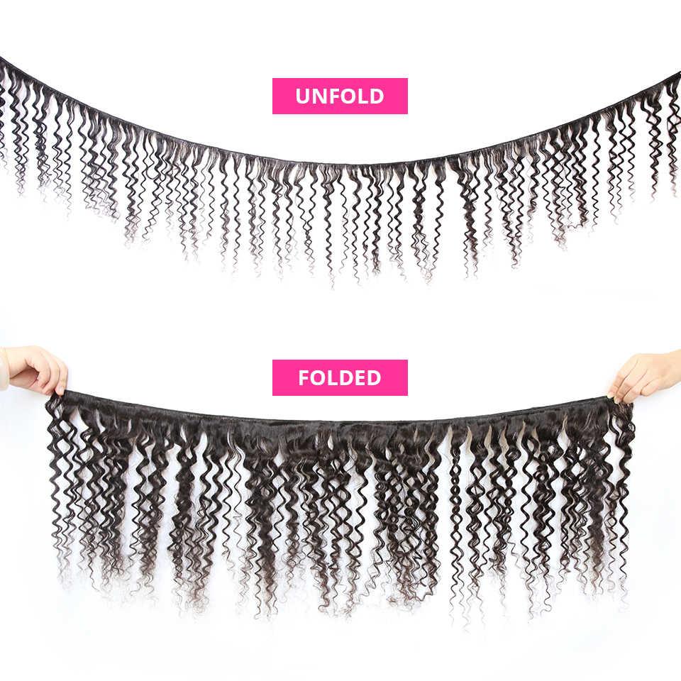Kıvırcık demetleri 30 36 38 40 inç 100% insan saç demetleri brezilyalı derin dalga saç örgü demetleri saç işlenmemiş insan saçı uzatma