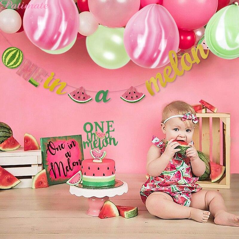 Decoración de fiesta de sandía con tema de Fruta de verano, Banner de una en melón, suministros para 1er fiesta de cumpleaños, decoración para fiesta de cumpleaños de niña