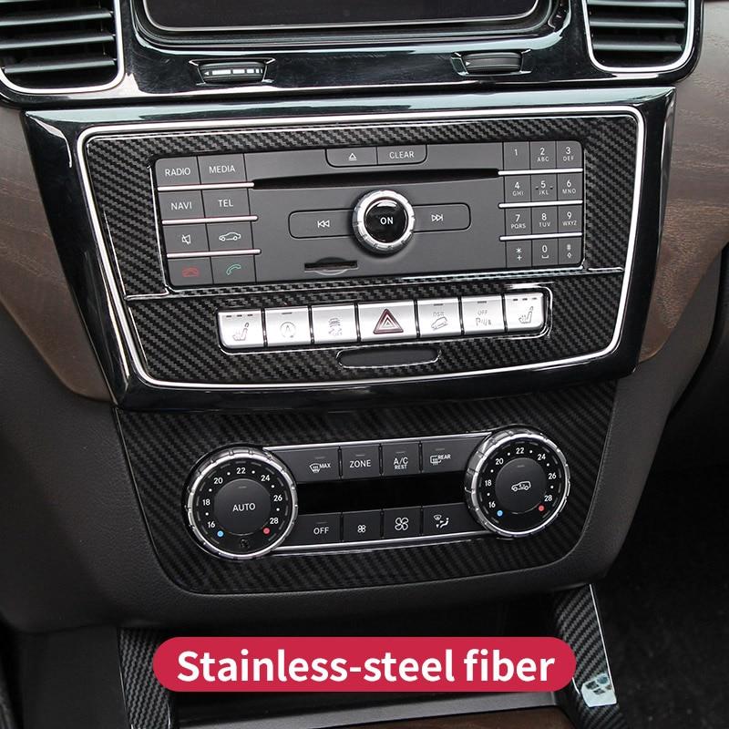 CD paneli çıkartmalar Mercedes Benz GLE W166 GLE Coupe C292 GLS x166 amg karbon klima anahtarı paneli kapak aksesuarları