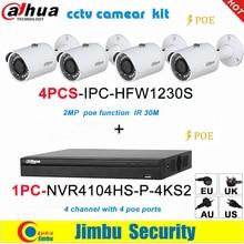 Dahua Ip Surveilliance Systeem Nvr Kit 4CH 4K Video Recorder NVR4104HS P 4KS2 & Dahua 2MP Ip Camera 4Pcs IPC HFW1230S