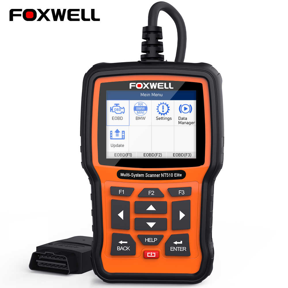 Foxwell NT510 Elite Full Systeem OBD2 Auto Diagnostic Tool Abs Airbag Srs Epb Olie Reset Dpf Bms ODB2 Obd 2 automotive Scanner