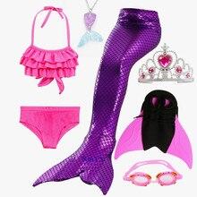 цена на New Kids Swimming Mermaid Tail Costume for Girl Kids Bikini Children Mermaid Swim Tail Mermaid With Monofin Tail Mermaid for Kid