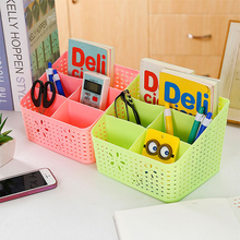 Tabletop Makeup Cosmetic Stationery Storage Box Makeup Organizer  Home Office Desktop Plastic Box Make Up Brush Storage Case