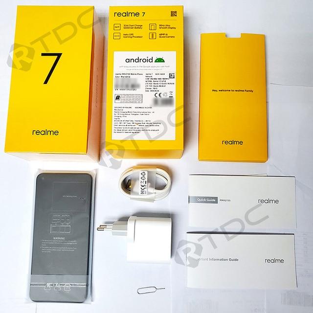 realme 7 NFC 6.5''FHD+ Global 6/8GB 64/128GB Smartphone 30W Dart Charge 5V/6A Helio G95 48MP 5000mAh Mobile Phone 6