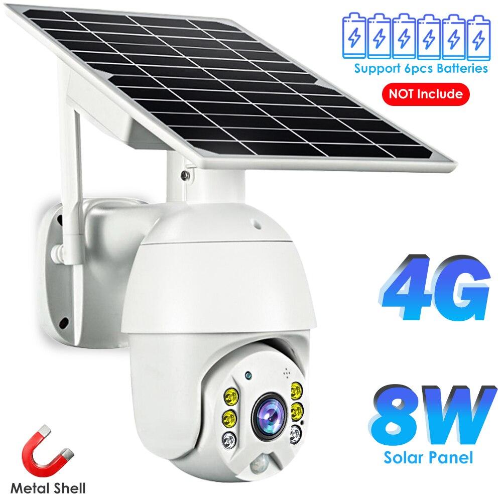 4g cartão sim câmera ip ao ar livre ptz cctv câmera wi-fi 8w painel solar bateria recarregável sem fio de metal câmera segurança pir alarme