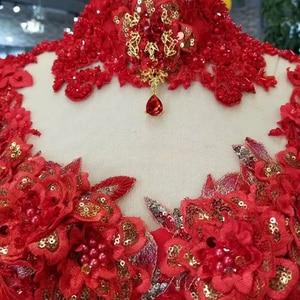 Image 5 - LS11290 robe de bal robes de soirée col haut manches longues à lacets dos rose robes de soirée de mariage pli multi couche vestido longo