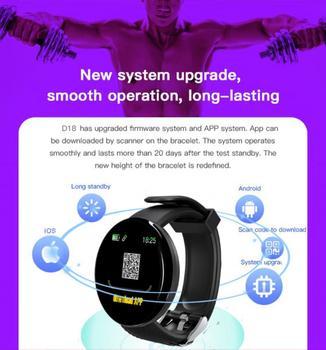 D18S Smart Watch Man Women Fitness Blood Pressure Heart Rate Monitor Pedometer Fashion Watches Sports Waterproof SmartWatch 5