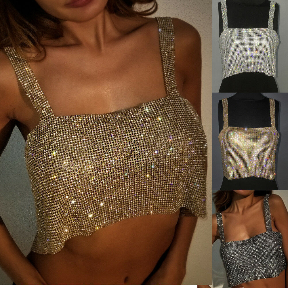 Vest Tank-Crop-Top Sequins Crystal Metallic Backless Silver Gold Shiny Necklace Strap