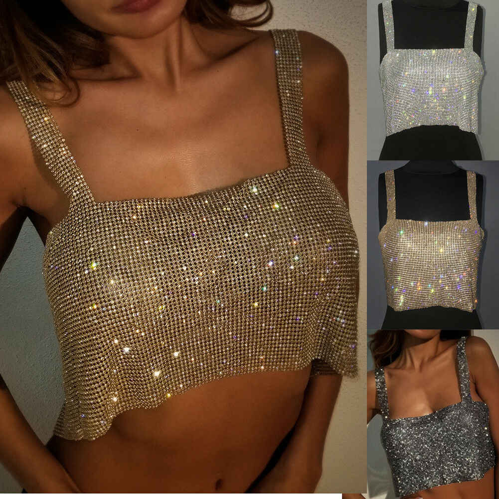 Crystal Silver Gold Metal Strappy Backless Glanzende Pailletten Ketting Metallic Strap Tank Crop Top Vest