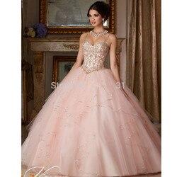 Недорогие розовые платья Quinceanera, бальное платье на тонких бретельках, Тюлевое платье с бисером и кристаллами, 16 платьев