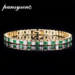 PANSYSEN 18K złoty kolor luksusowe prawdziwe 925 srebro biżuteria bransoletki dla kobiet z zielonym niebieskim białym z cyrkoniami aaa Fashion Party prezent