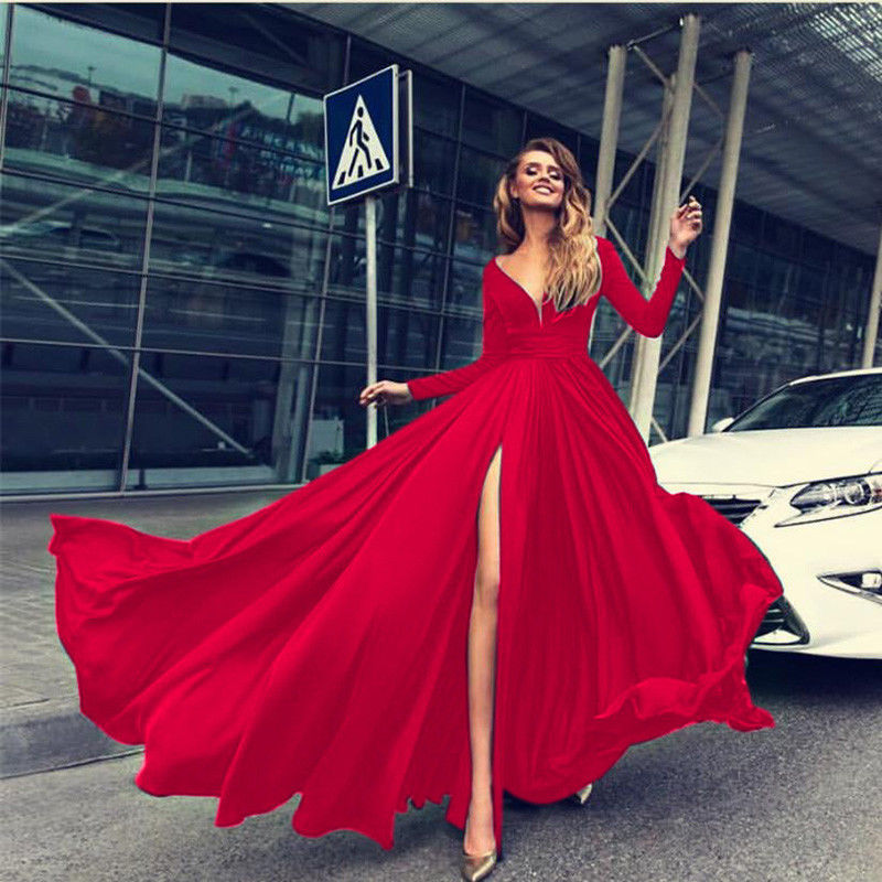 Deep V Dress Solid Color Ladies Long Dresses Fashion High Cut Split Long Sleeve Maxi Dresses For Women Evening Party Dress
