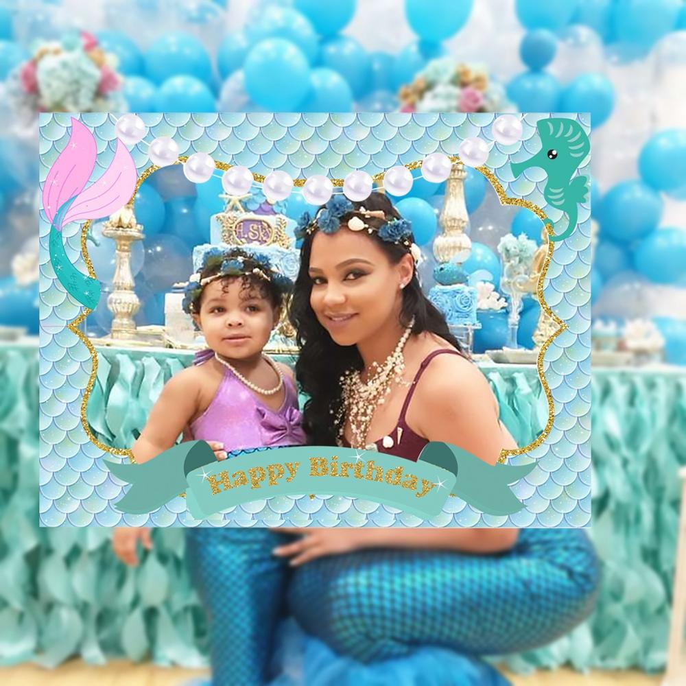 Вечерние Одноразовые столовые принадлежности Русалочки для вечеринки в честь Дня Рождения, вечерние платья для первого дня рождения