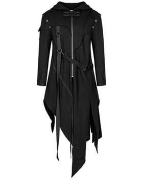 JODIMITTY Men Gothic Style Hip Hop Trench Coat Hooded Cloak Men's Irregular Design Long Cardigan Str