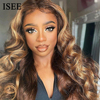 ISEE HAIR Honey Blonde Highlight Wigs Ombre Brown Body Wave 13x4 Lace Front Human Hair Wigs Malaysian Lace Frontal Wigs