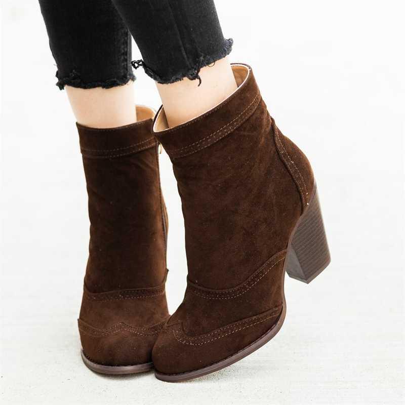 Litthing ฤดูหนาวรองเท้าผู้หญิงรองเท้าส้นสูง Slip ฤดูหนาวถุงเท้ายืดรองเท้า Elegant Square รองเท้าส้นสูงรองเท้าผู้หญิง