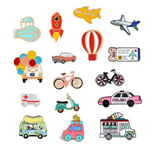 Creative Bicycle Electric Vehicle Car Enamel Brooch Planet Hot Air Balloon Rocket Spacecraft Airline Ticket Badge Cartoon Pin(China)
